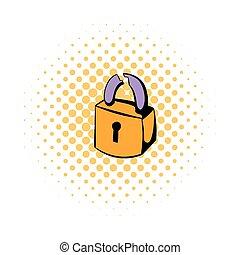 Padlock icon, comics style