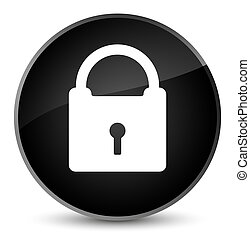 Padlock icon elegant black round button
