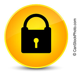 Padlock icon elegant yellow round button