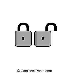 Padlock icon, flat design closed and open padlock illustration