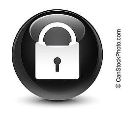 Padlock icon glassy black round button - Padlock icon ...