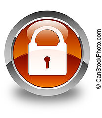 Padlock icon glossy brown round button