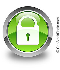 Padlock icon glossy green round button