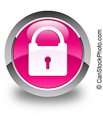 Padlock icon glossy pink round button