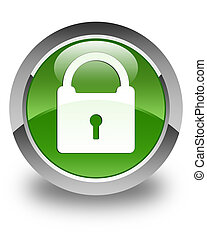 Padlock icon glossy soft green round button