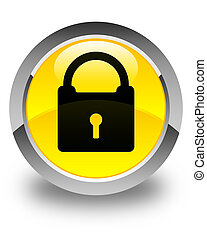 Padlock icon glossy yellow round button