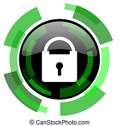 padlock icon, green modern design isolated button, web and mobile app design illustration