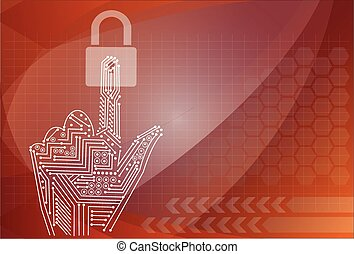 padlock icon holding by hand on the background technologies.