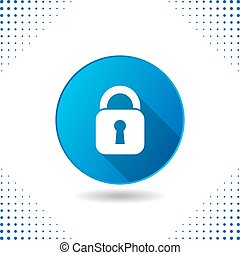 Padlock icon on blue button
