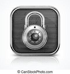Padlock icon on white - Metallic icon with round padlock on...