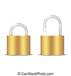 Padlock Icon. Open And Closed. Isolated On White. Vector...