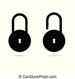 padlock icon open and closed vector