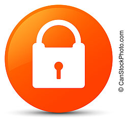 Padlock icon orange round button