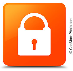 Padlock icon orange square button