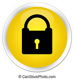 Padlock icon premium yellow round button