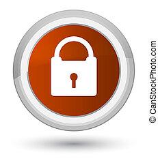 Padlock icon prime brown round button