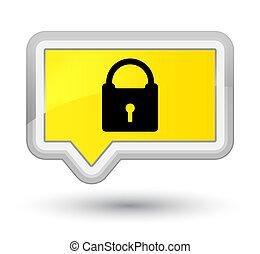 Padlock icon prime yellow banner button