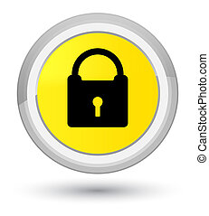 Padlock icon prime yellow round button