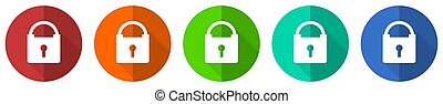 Padlock icon set, security, red, blue, green and orange flat design web buttons isolated on white background, vector illustration