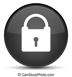 Padlock icon special black round button