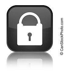 Padlock icon special black square button