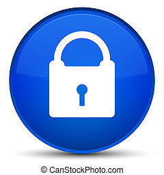 Padlock icon special blue round button