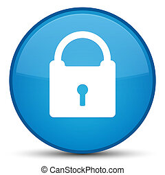 Padlock icon special cyan blue round button