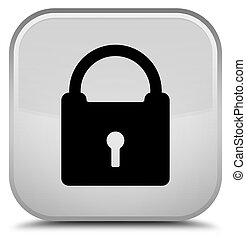 Padlock icon special white square button