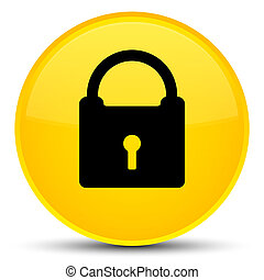 Padlock icon special yellow round button