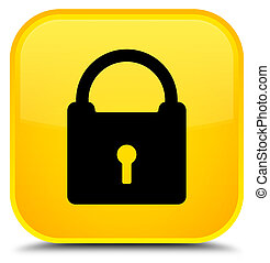 Padlock icon special yellow square button