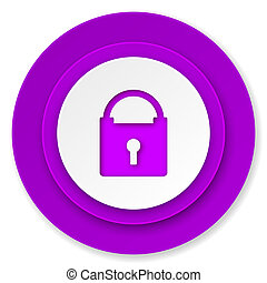 padlock icon, violet button, secure sign