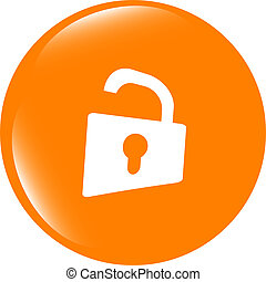 Padlock icon web sign. Rounded button . Trendy flat style sign isolated on white background