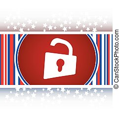 Padlock icon web sign. Rounded button vector