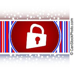 Padlock icon web sign. Rounded web app button