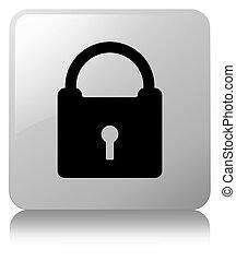 Padlock icon white square button