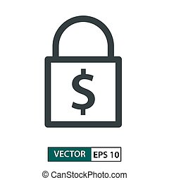 Padlock icon with dollar symbol. Line style. Isolated on white. Vector Illustration EPS 10