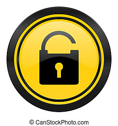 padlock icon, yellow logo, secure sign