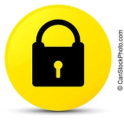 Padlock icon yellow round button