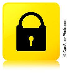 Padlock icon yellow square button