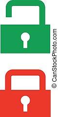 padlock., iconen, groene, gesloten, open, rood