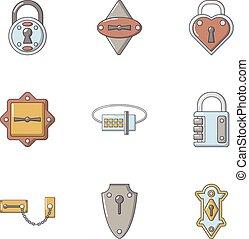 Padlock icons set, cartoon style - Padlock icons set....