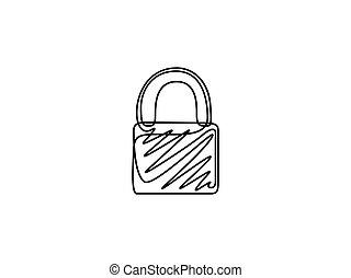 padlock., illustration., ciągły, jeden, wektor, kreskówka