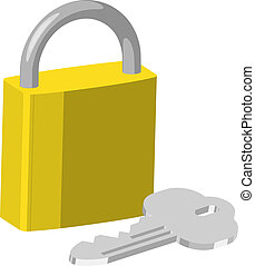 padlock Illustration - An illustration of brass pad lock and...