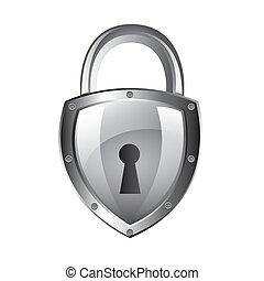 padlock - silver padlock isolated over white background....