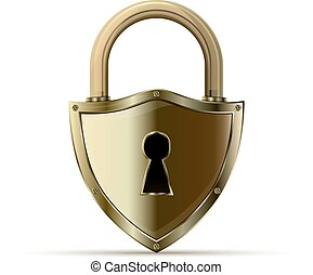 padlock - 3D realistic closed padlock. Steel lock for...
