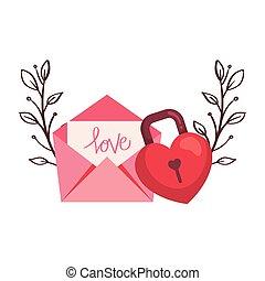 padlock in shape heart with envelope