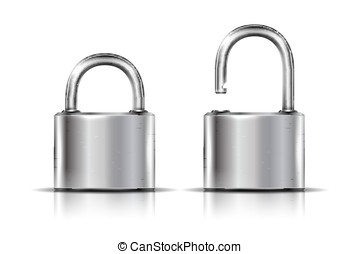 Padlock in the open and closed posi - Two icons - padlock in...