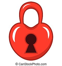 padlock in the shape of a red heart. vector