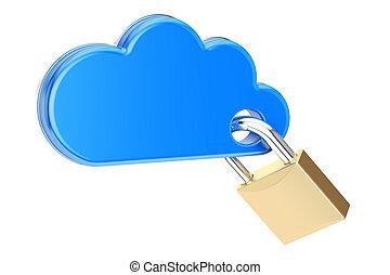 padlock., informática, concepto, interpretación, protección, seguridad, nube, 3d