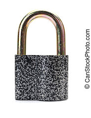 padlock isolated on white - Steel padlock isolated on a...